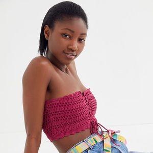 NWT Rose Crochet Tie-Front Bandeau Top